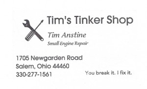Tim can service your Speedex at his shop or can supply the parts you need to do your own service.